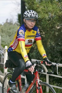Elderly person riding a bike